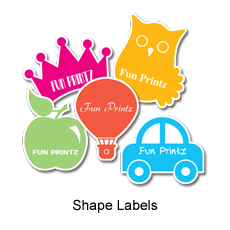 Laminated for durability, fade & water resistant Shape Labels/Stickers